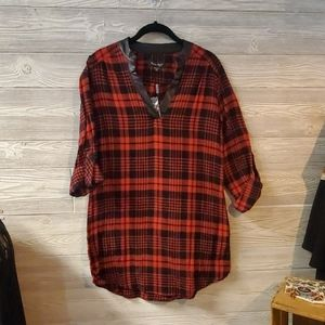 Red & Black Flannel Tunic